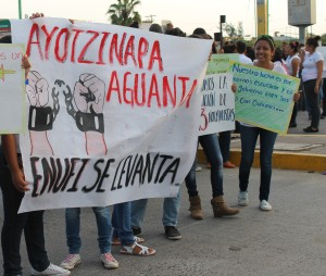 """Ayotzinapa suffers, ENUFI rises up"" ENUFI is the Escuela Rural in Ixtepec, Oaxaca, that convoked the march."